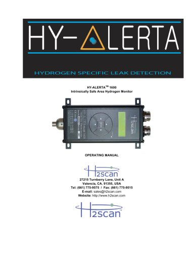 HY-ALERTA 1600 Intrinsically Safe Area Hydrogen Monitor