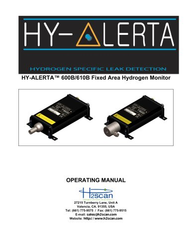 HY-ALERTA 600B/610B Fixed Area Hydrogen Monitor