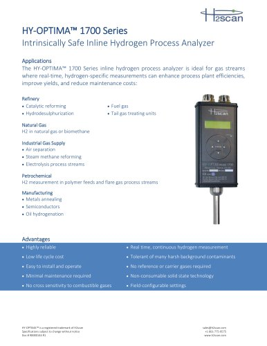 HY-OPTIMA™ 1700 Series Intrinsically Safe In-line Hydrogen Process Analyzer