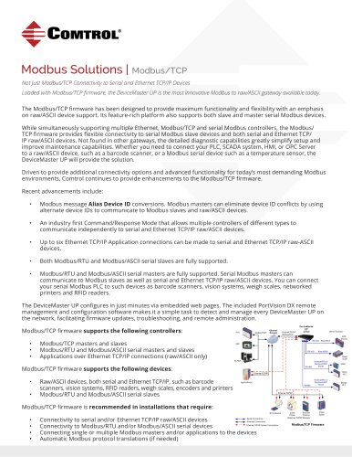 Modbus TCP Solutions