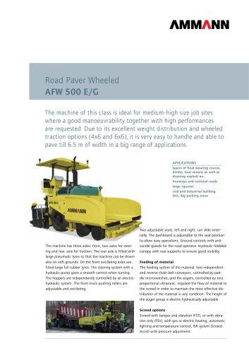 Road Paver AFW 500 E/G: Road Paver Wheeled
