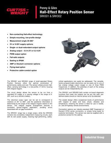 SRH301 & SRH302 - Hall-effect Rotary Position Sensor
