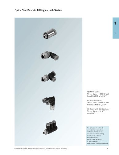 QS Push-in Fittings – Inch Series