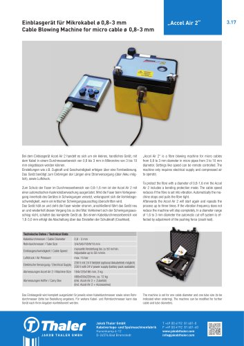 """""""Accel Air 2"""" Blowing Machine for micro cable"""