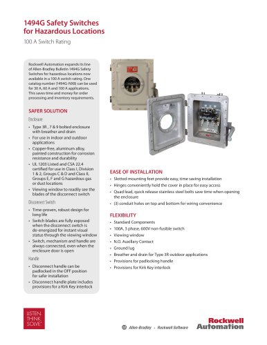 Bulletin 1494G Safety Switches for Hazardous Locations
