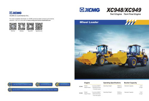XCMG Tier4 Final Engine Wheel Loader XC949