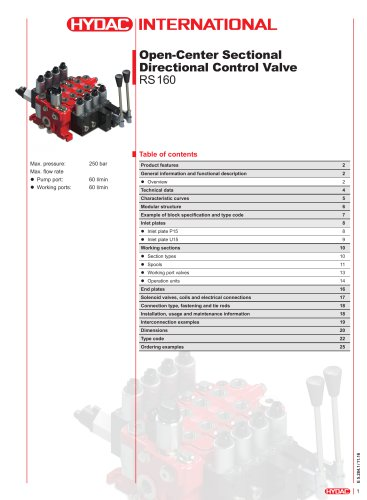 Open-Center Sectional Directional Control Valve RS 160