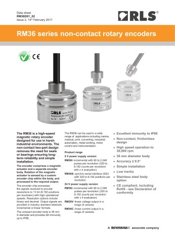 RM36 series non-contact rotary encoders