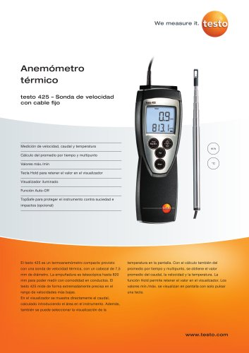 Anemómetro térmico - testo 425