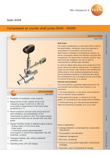 Compressed air counter shaft probe DN40 - DN300