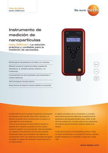 Instrumento de  medición de  nanopartículas testo DiSCmini
