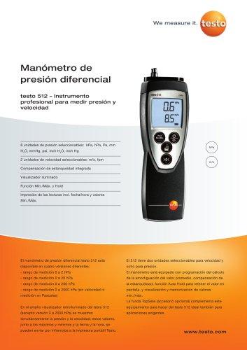 Manómetro de presión diferencial - testo 512