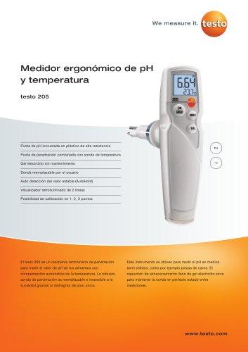 Medidor ergonómico de pH y temperatura - testo 205
