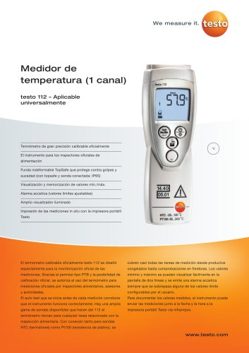 Medidor de temperatura (1 canal) - testo 112