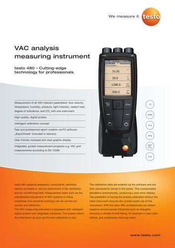 testo 480 VAC analysis measuring instrument
