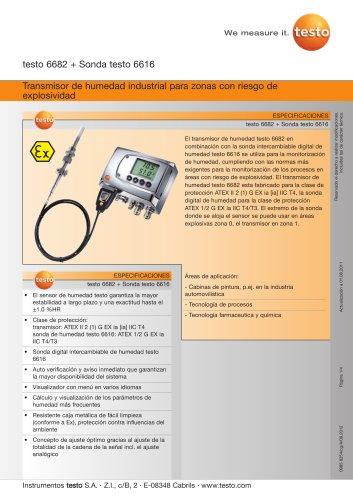 Transmisor de humedad industrial para zonas con riesgo de explosividad - testo 6682