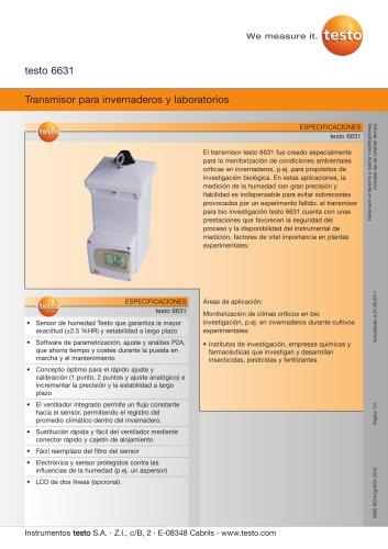 Transmisor para invernaderos y laboratorios - testo 6631