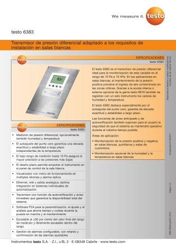 Transmisor de presión diferencial adaptado a los requisitos de instalación en salas blancas - testo 6383