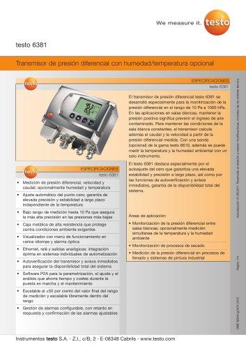 Transmisor de presión diferencial con humedad/temperatura opcional - testo 6381