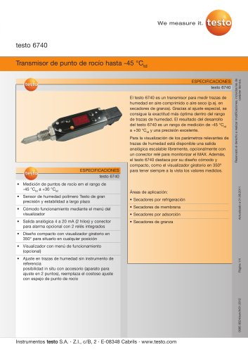 Transmisor de punto de rocío hasta -45 °Ctd - testo 6740