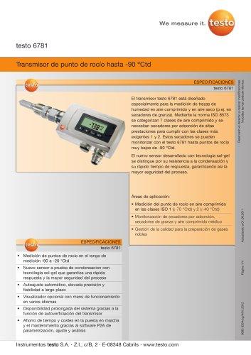 Transmisor de punto de rocío hasta -90 ºCtd - testo 6781