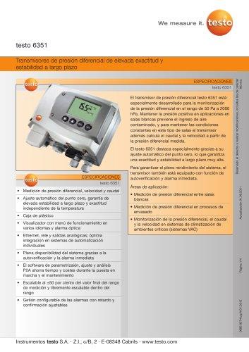 Transmisores de presión diferencial de elevada exactitud y estabilidad a largo plazo - testo 6351