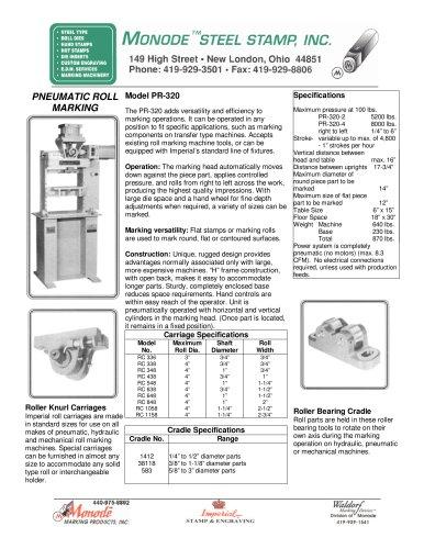 Model PR-320 Pneumatic Roll Marking Machine