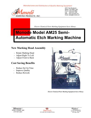 Monode Model AM25 Semi-automatic Electro-Chemical Etch Marking