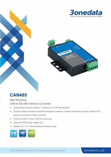 3onedata | CAN485 | 1-port CAN Bus to RS-485 Converter