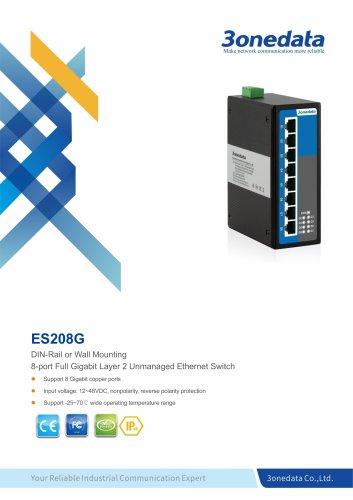 3onedata | ES208G | Unmanaged | DIN rail | 8 ports Gigabit Ethernet Switch