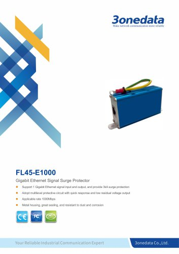 3onedata | FL45-1000 | Gigabit Ethernet Signal Surge Protector