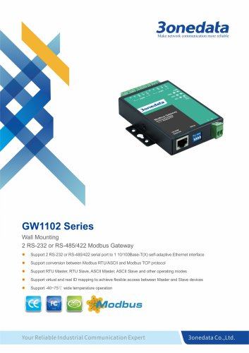 3onedata | GW1102 | 2-port RS-232/485/422 to Ethernet Modbus Gateway