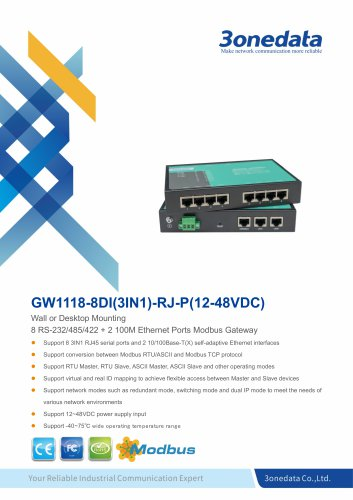 3onedata | GW1118 | 8-port RS-232/485/422 to Ethernet Modbus Gateway