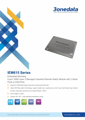 3onedata | IEM615 | 5-port Embedded Industrial Ethernet Switch Module