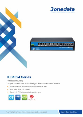 3onedata | IES1024 | Unmanaged | Rackmount | 24 ports Industrial Ethernet Switch