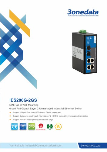 3onedata | IES206G-2GS | DIN rail | Unmanaged | 4 ports Gigabit Industrial Ethernet Switch with 2 ports gigabit SFP