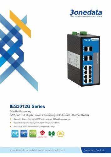3onedata | IES3012G | Unmanaged | DIN rail | Full Gigabit 8 ports Industrial Ethernet Switch with 4 ports SFP