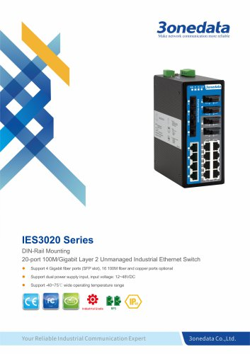 3onedata | IES3020-4GS | Unmanaged | DIN rail | 16 port Industrial Ethernet Switch with 4 Gigabit SFP sockets