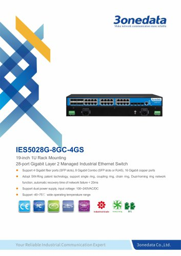 3onedata | IES5028G-8GC-4GS | Rackmount | Managed | 24 ports Industrial Gigabit Ethernet Switch with 4 Gigabit SFP sockets