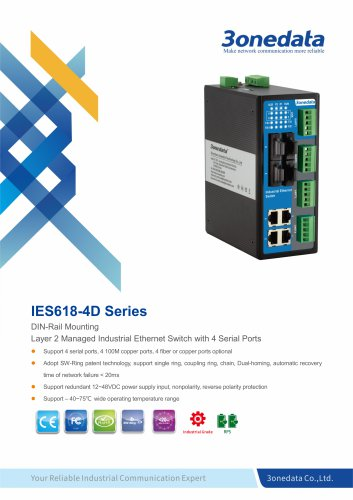 3onedata | IES618-4D | Managed | DIN rail | 8 ports Industrial Ethernet Switch with 4 Serial ports