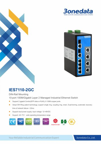 3onedata | IES7110-2GC | Managed | DIN rail | 8 ports Industrial Ethernet Switch with 2 Gigabit Combo ports | Transportation