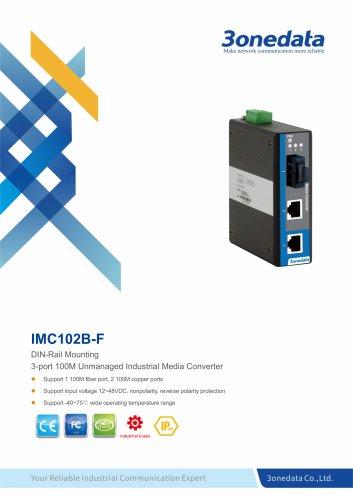 3onedata | IMC102B-F | Ethernet to Fiber Converter | 2 ports Industrial Media Converter
