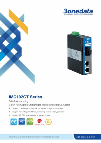 3onedata | IMC102GT | Gigabit Ethernet to Fiber Converter | 2 ports Industrial Media Converter