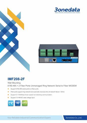 3onedata |  IMF208-2F | 8-port RS-485 to 2-port Fiber Converter