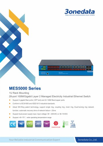 3onedata | MES5000 | IEC61850 | Managed | Rackmounting | 24 ports Industrial Ethernet Switch with 4 Gigabit SFP sockets | Electric Power System
