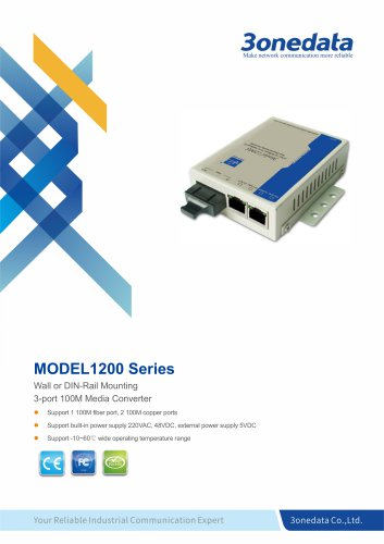 3onedata | Model1200 | 2-port 10/100M Ethernet to Fiber Converter