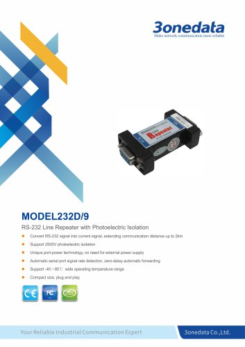 3onedata | MODEL232D/9 | Port-powered RS-232 Repeater