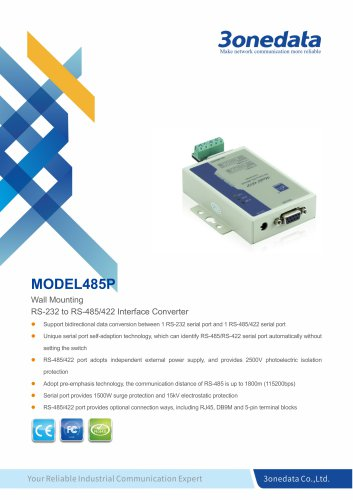 3onedata | Model485P | Optical Isolation RS-232 to RS-485/422 Converter