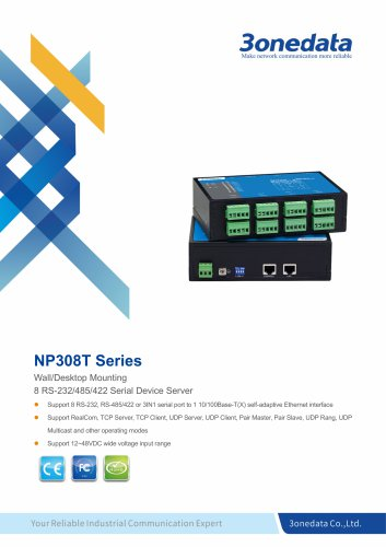 3onedata | NP308T | 8-port RS-232/485/422 Serial Device Server
