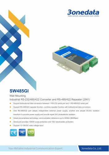 3onedata | SW485GI | Industrial RS-232/485/422 Converter and Repeater